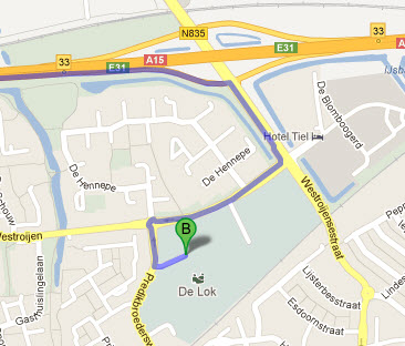 Routekaart Sportpark de Lok